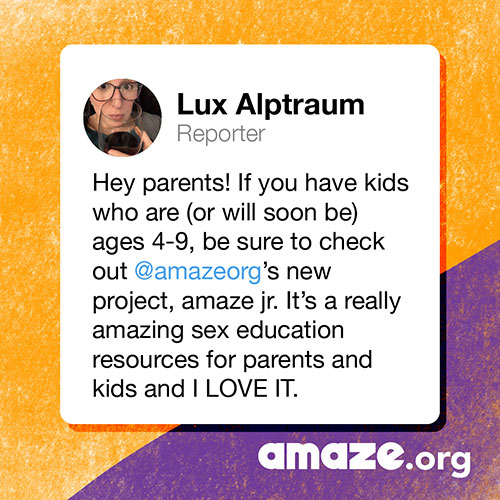 Hey parents! If you have kids who are (or will soon be) ages 4-9, be sure to check out @amazeorg's new project, amaze jr. It's a really amazing sex education resource for parents and kids and I LOVE IT.